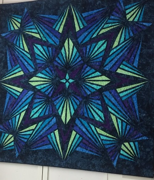 Crystal Blue Kaleidoscope Quilt