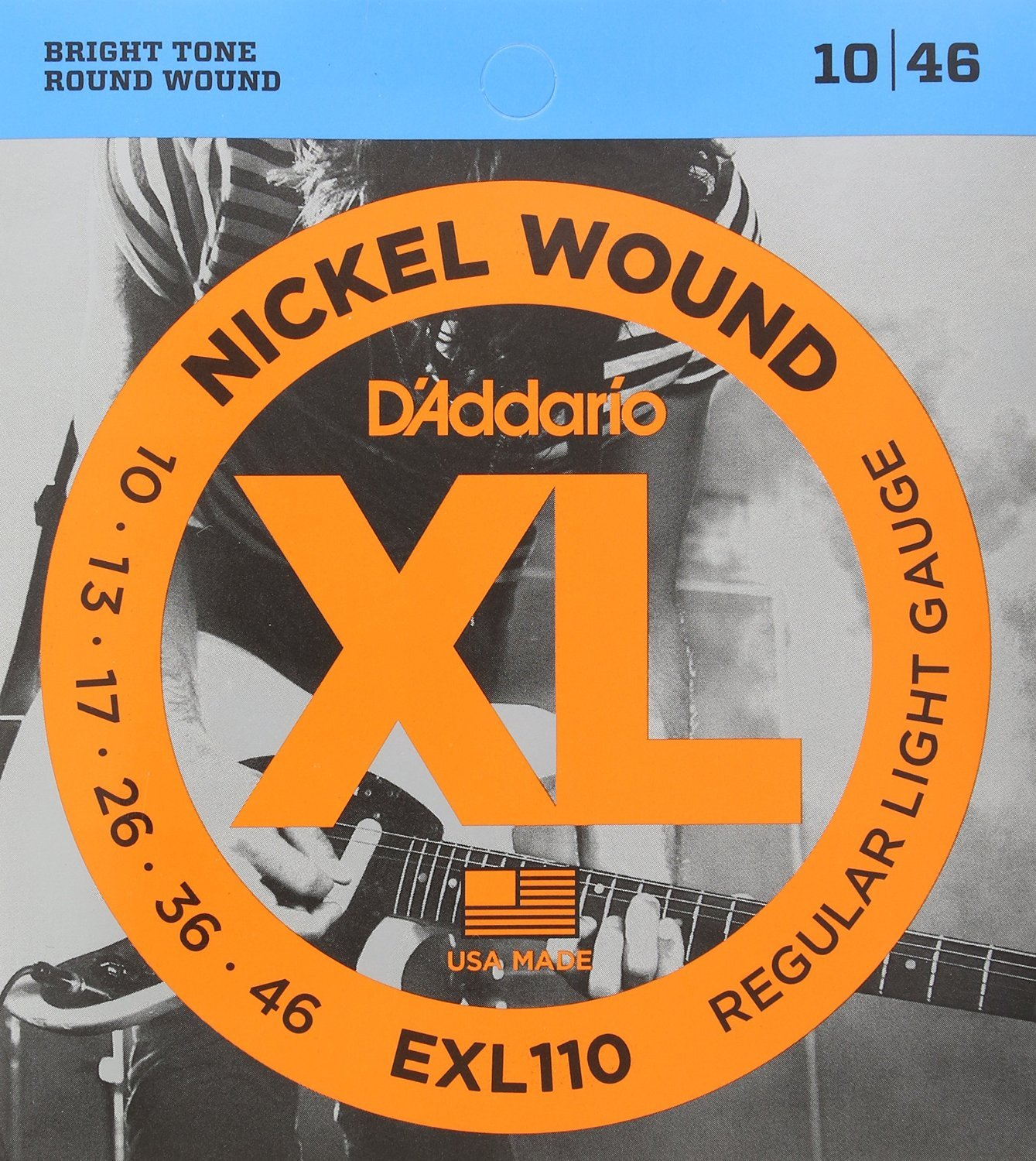 D'Addario EXL110 Nickel Wound Electric Guitar Strings Regular Light 10-46