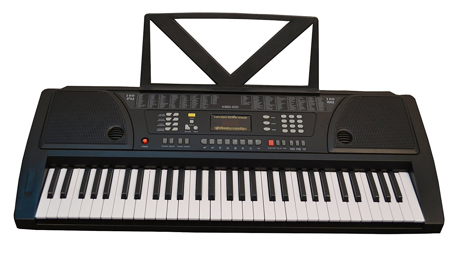 Huntington KB61 61-Key Portable Electronic Keyboard, Black
