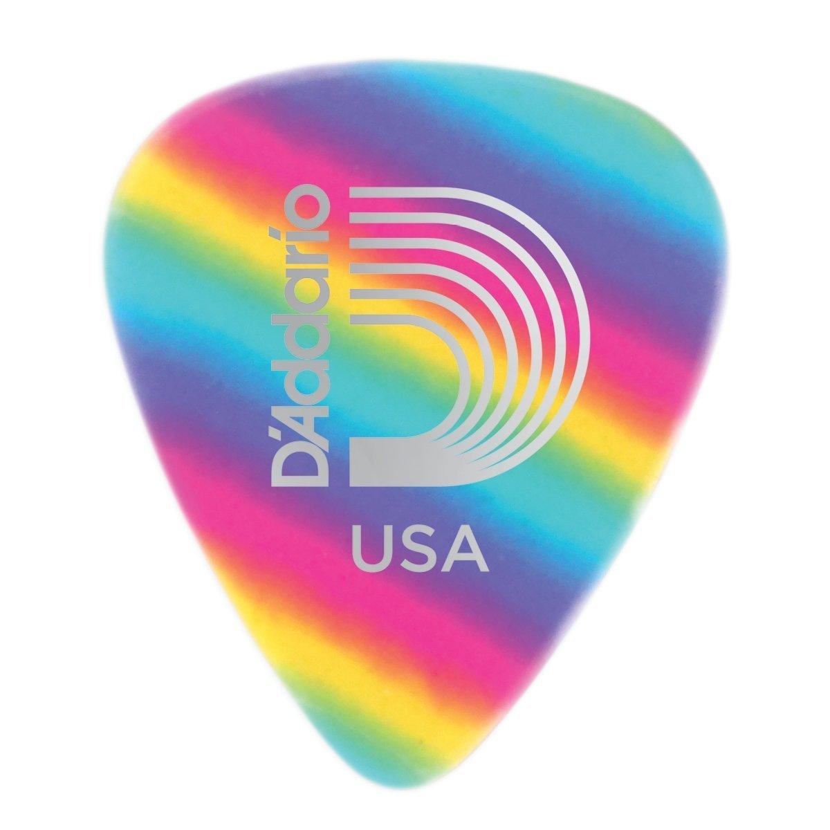 D'Addario Rainbow Celluloid Guitar Picks, Medium, 10 Pack