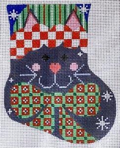 Bacl Cat w Bow mini sock