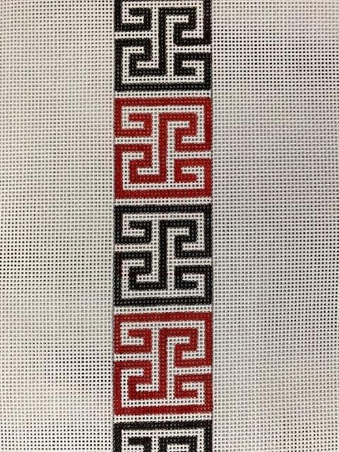 Greek Key Square Belt black and red