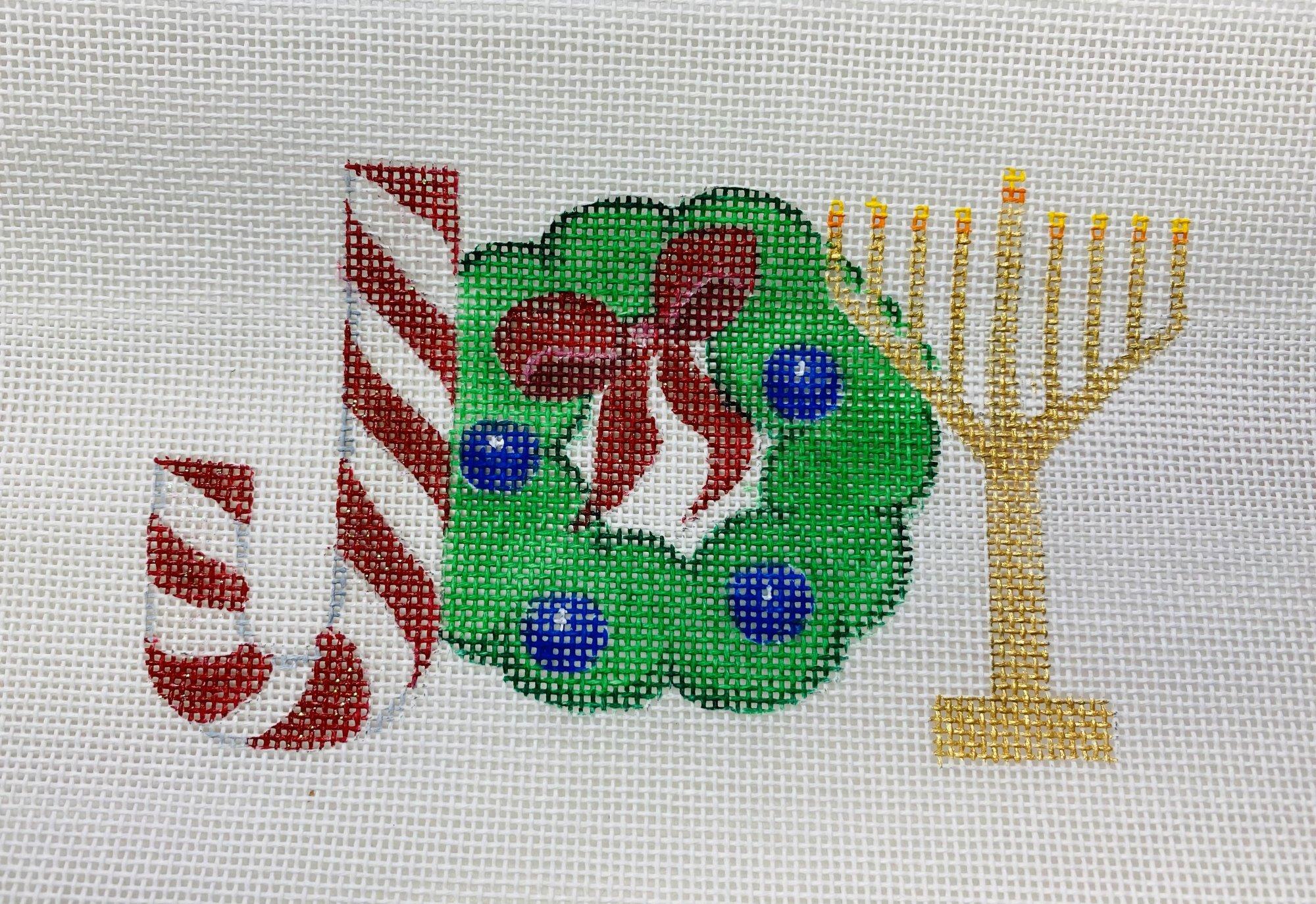 Joy - cane wreath menorah