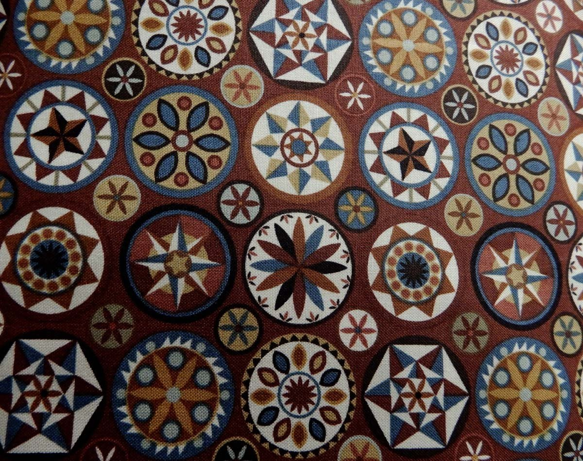 Heritage Quilts Fabric: Brown Medallions