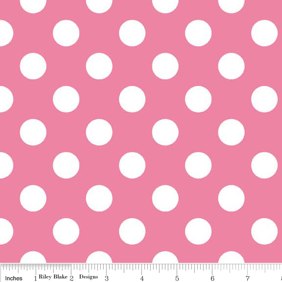 Hot Pink Medium Dot Flannel - F360-70