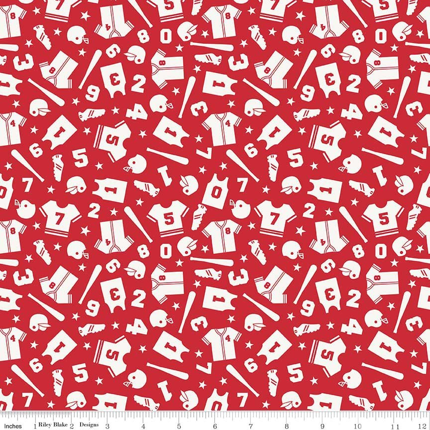Red Play Ball Tosses All Over Flannel - F5131-Red