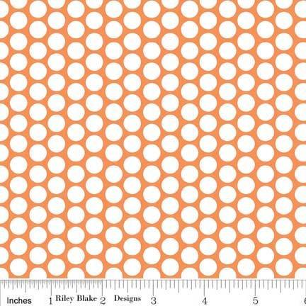 White Honeycomb Dot on Orange Flannel - F680-60-Orange