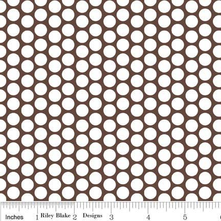 White Honeycomb Dot on Brown Flannel - F680-90-Brown