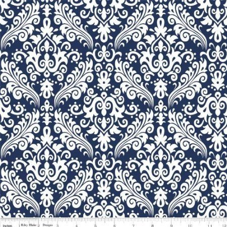Hollywood White on Navy Flannel - F830-21-Navy