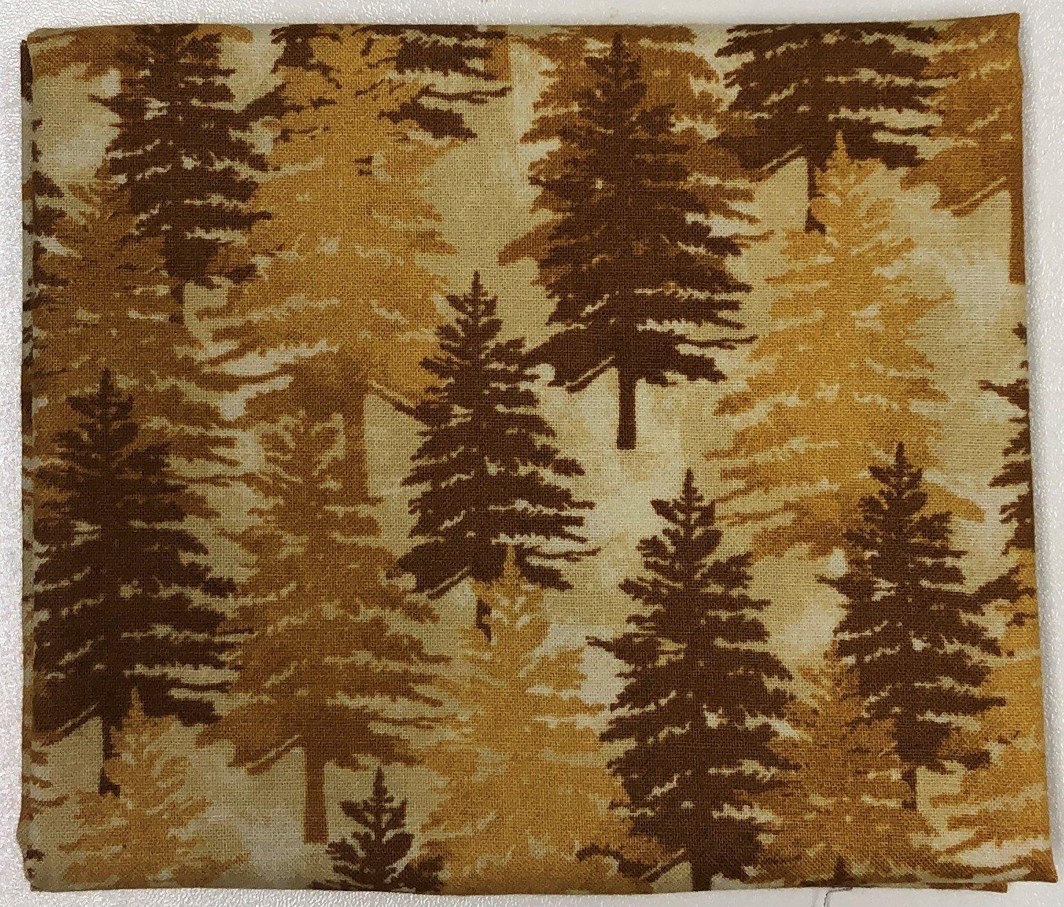 Brown Trees on Tan - Fat Quarters 20x22 - FQ003