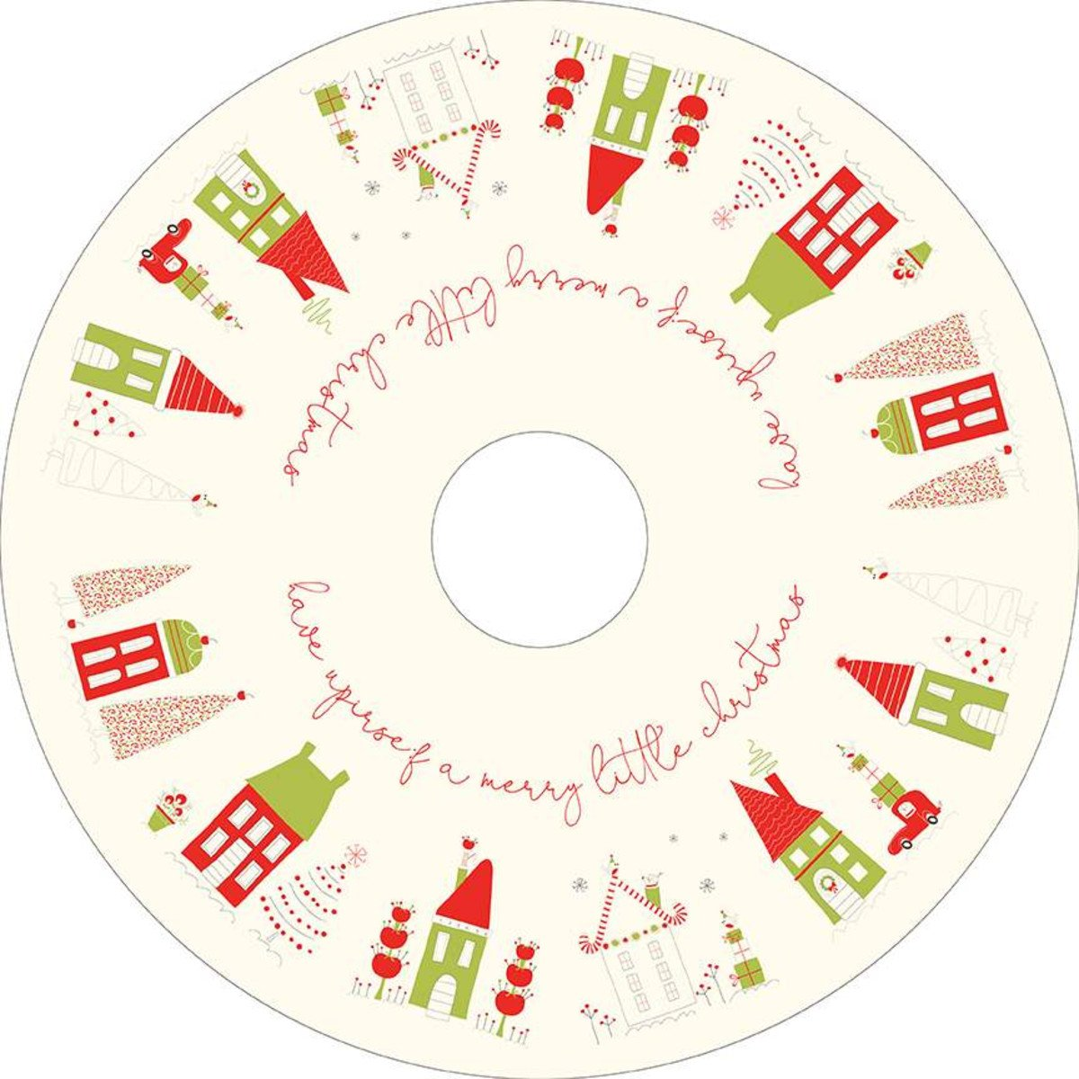 Merry Little Christmas Tree Skirt Panel Cream