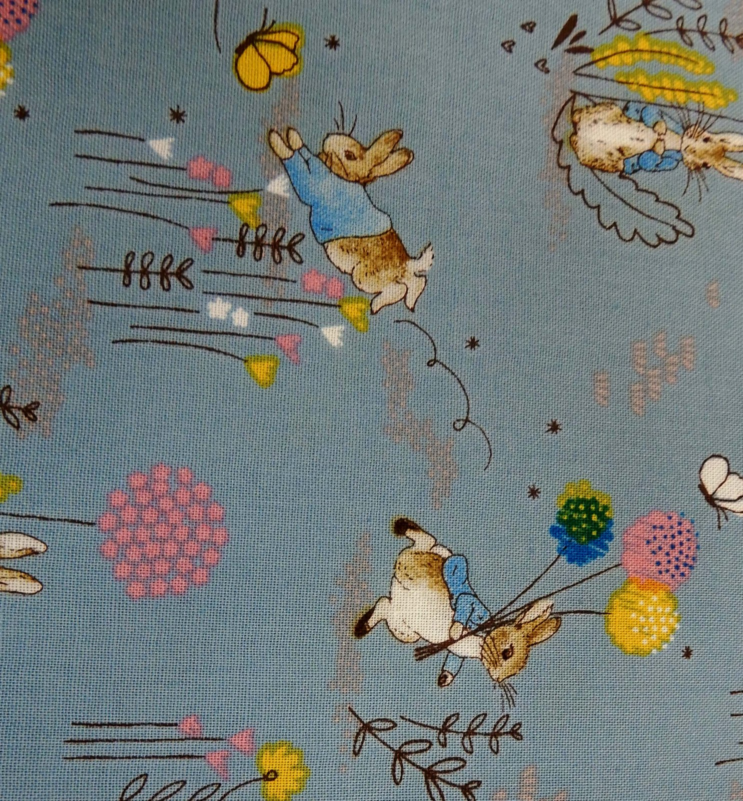 Peter Rabbit Fabric - Blue Dandelion