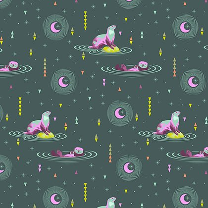 Tula Pink Fabric: Spirit Animal Otter & Chill Lunar