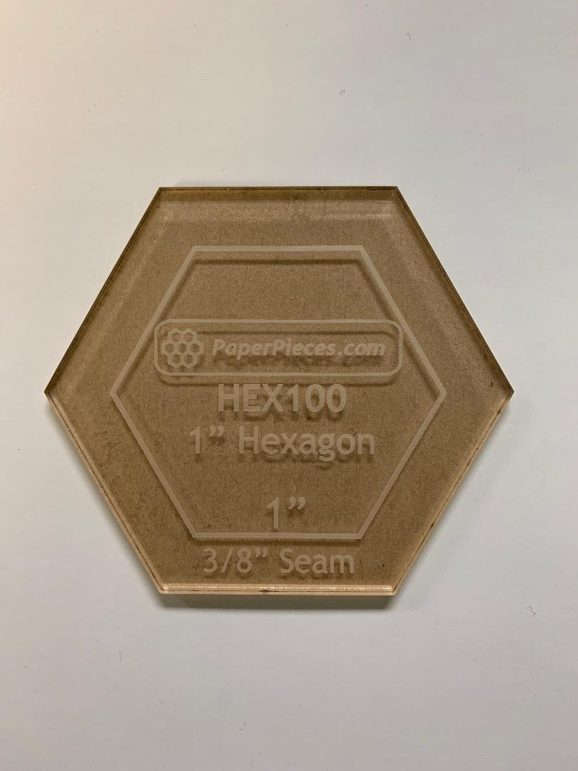 Hexagon 1 Acrylic Template with 3/8 Seam