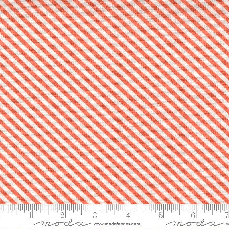 Cross Stitch Bias Stripe in Strawberry