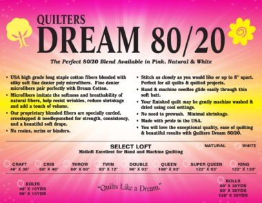 Quilters Dream 80/20 Select in Natural | Crib Batting