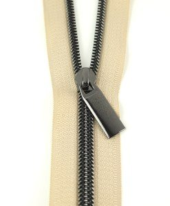 Zippers By The Yard Beige Tape Gunmetal Teeth #5