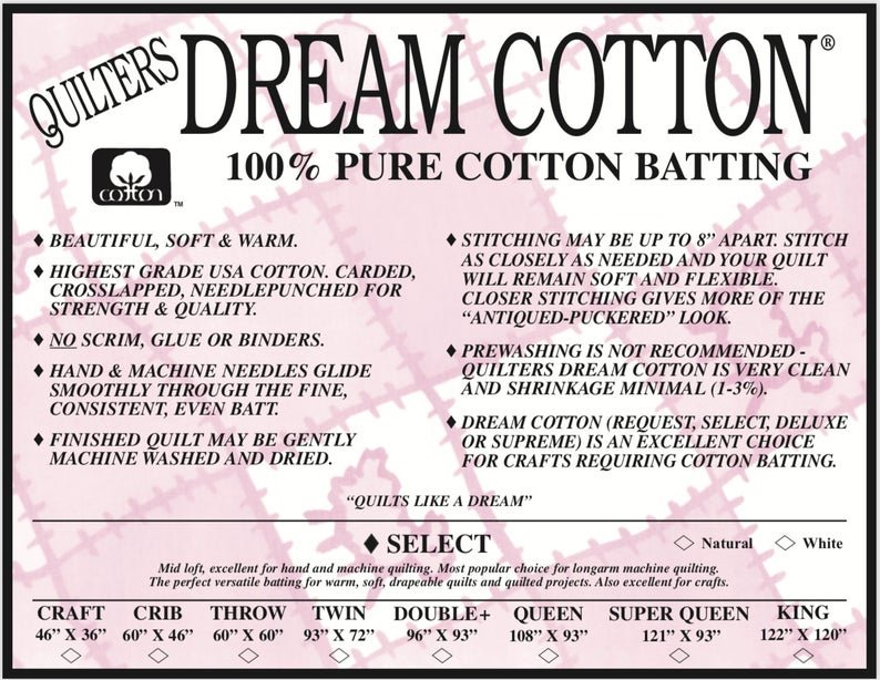 Quilters Dream Cotton Select in Natural | Throw Batting