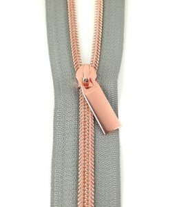 Zippers By The Yard Grey Tape Copper Teeth