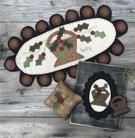 Basket of Holly by Wooden Spool Designs #1806^