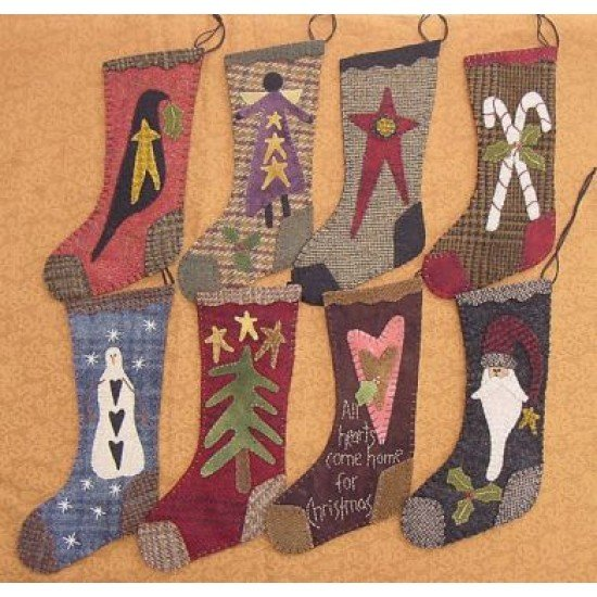 wool christmas stockings kit from primitive gatherings pri 151 - Primitive Christmas