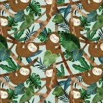 Teal Sloths in the Jungle by 3 Wishes Fabric 13860-Teal+