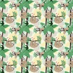 Cream Sloths Hanging On Branches #FUN-CD9946 by Timeless Treasures