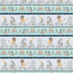 Bike Ride Border Print by Whirligig Designs Pewter Y2856-118+