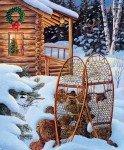 Christmas Memories Panel - Snowshoes Evening Solitude +