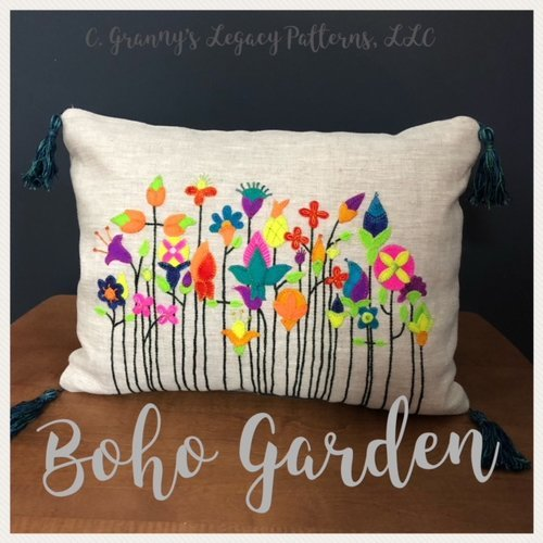 Boho Garden 12 x 16 Throw Pillow by Granny's Legacy Patterns^