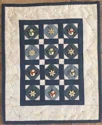 Snow Buttons Blue #213 (Blue quilt) by Red Button Quilt Co.+