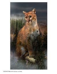 Call of the Wild - Cougar Panel - A Hoffman Spectrum Fabric #Q4490-141 +