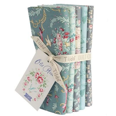 Tilda Old Rose FQ Bundle Teal/Gray TIL300058+