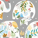 Ellie Grey Floral Elephant #51357-2+