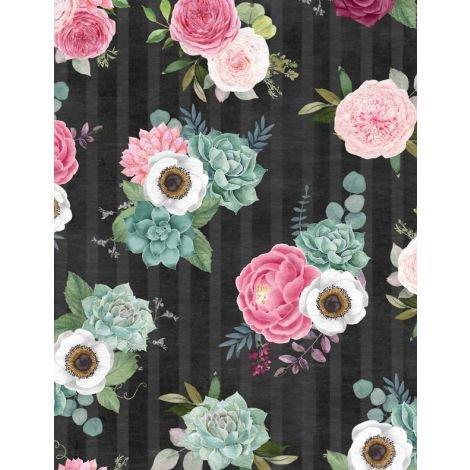 Botanical Oasis Black Floral by Anne Rowan 3007-68517-913+