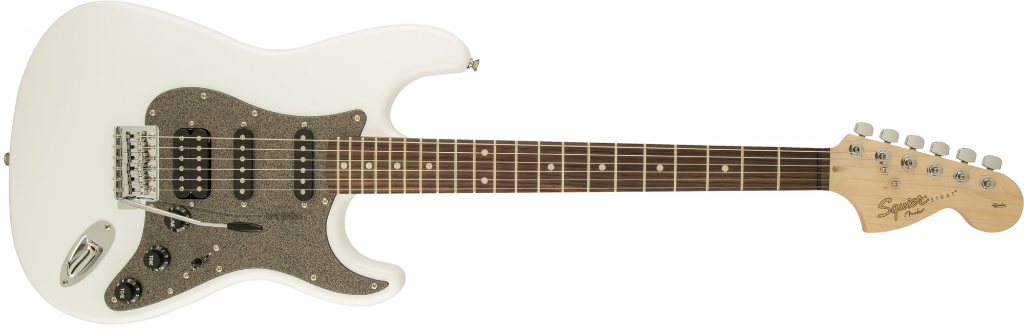 Fender Squier Affinity Stratocaster HSS Black Sparkle Pickguard Olympic White