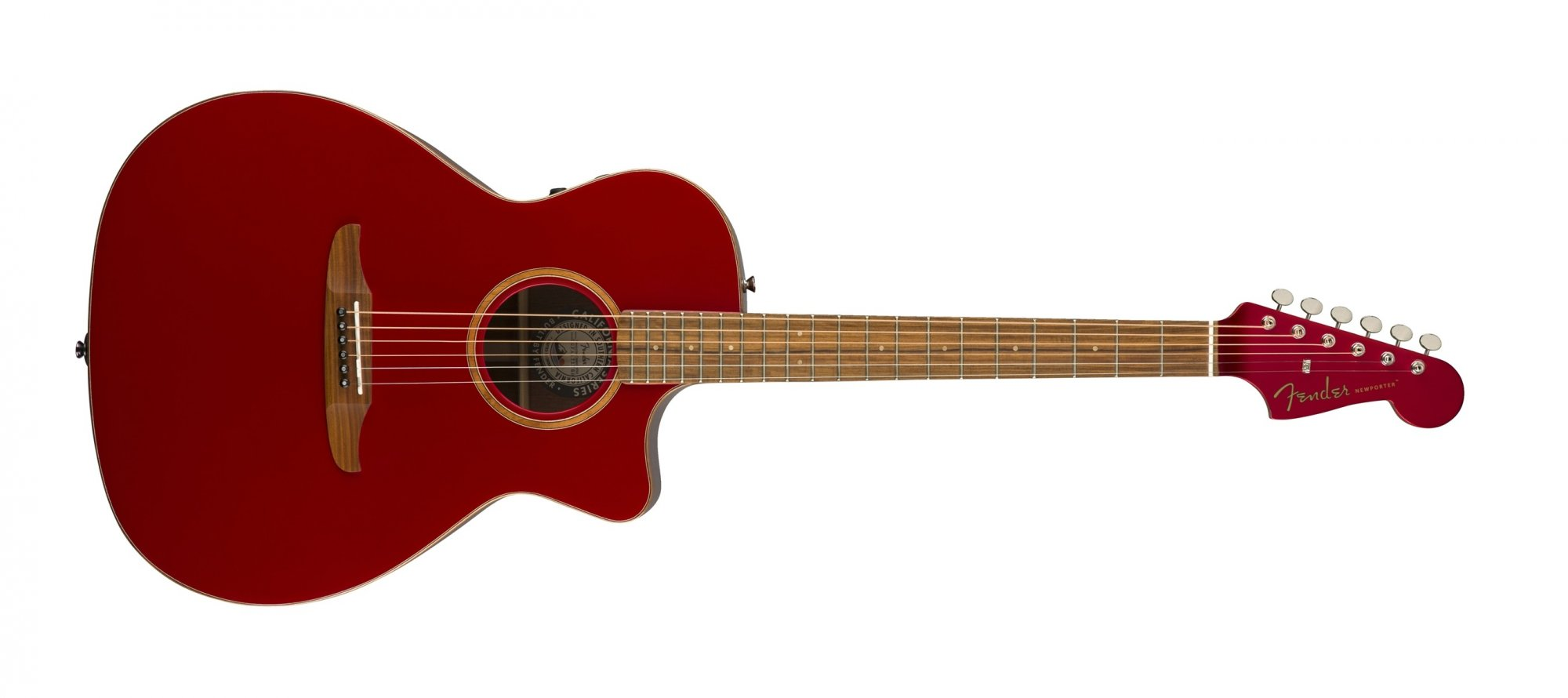 Fender Newporter Classic Acoustic Electric Guitar Hot Rod Red Metallic