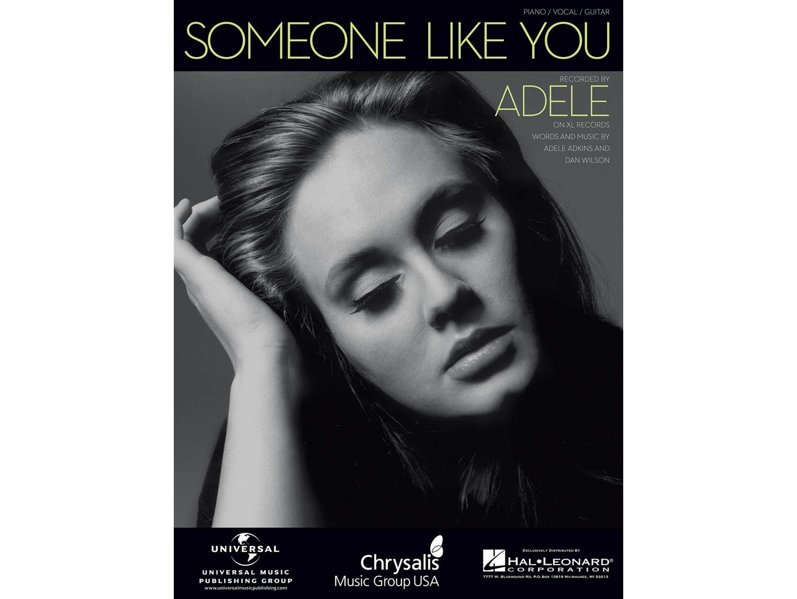 Adele Someone Like You Pianovocalguitar 884088620769