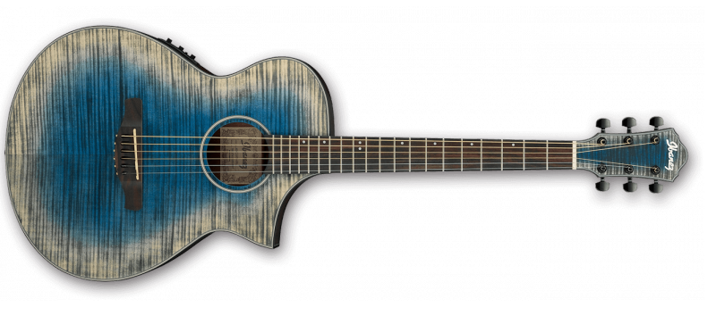 Ibanez AEWC32FM Artwood Acoustic Electric Guitar Flame Maple Top, Glacier Blue Low Gloss