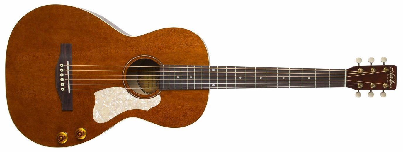 Art & Lutherie Roadhouse Q-Discrete Acoustic Electric Guitar, Havana Brown with Bag