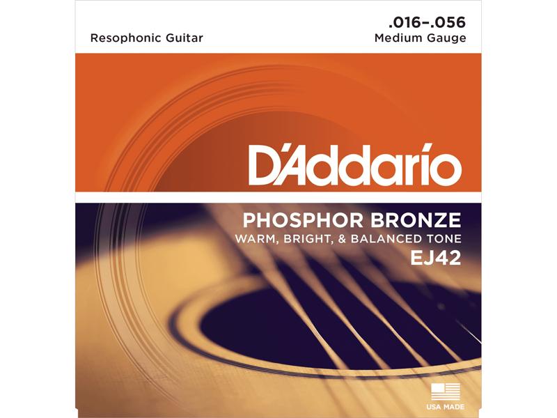 D'Addario Phosphor Bronze Resophonic Guitar Strings, EJ42 16-56