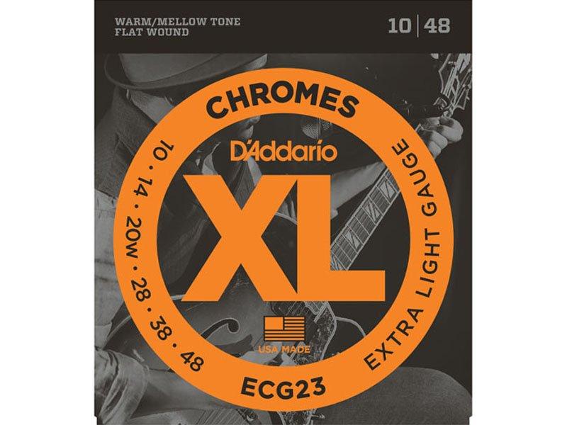 D'Addario XL Chromes Flat Wound Electric Guitar Strings, ECG23 Extra Light