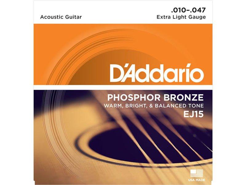 D'Addario Phosphor Bronze Acoustic Guitar Strings, EJ15 Extra Light Gauge