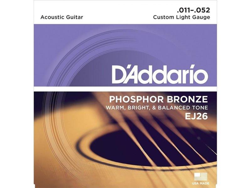 D'Addario Phosphor Bronze Acoustic Guitar Strings, EJ26 Custom Light Gauge