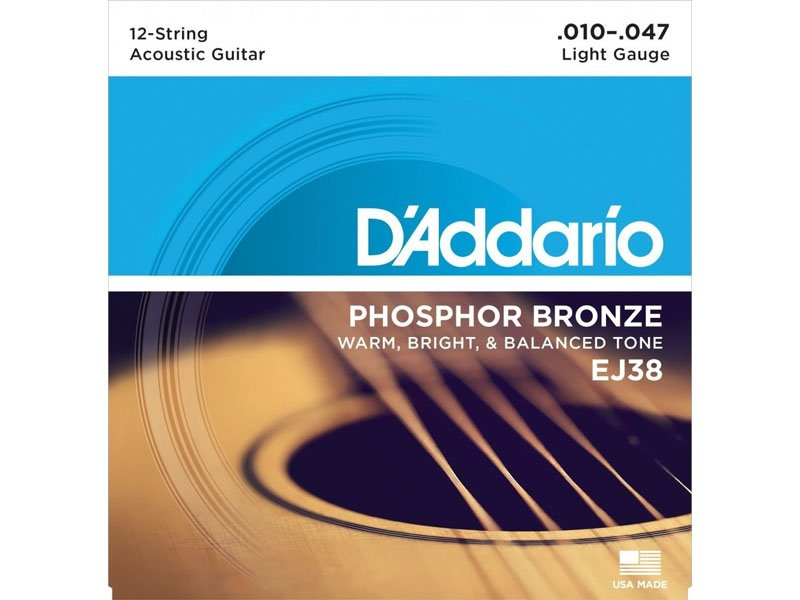 D'Addario Phosphor Bronze 12-String Acoustic Guitar Strings, EJ38 Light Gauge