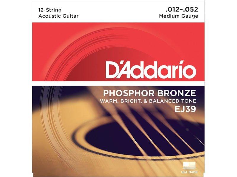 D'Addario Phosphor Bronze 12-String Acoustic Guitar Strings, EJ39 Medium Gauge