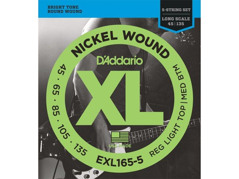 D'Addario EXL165-5 Light Top/Med Bottom Long Scale Bass Strings