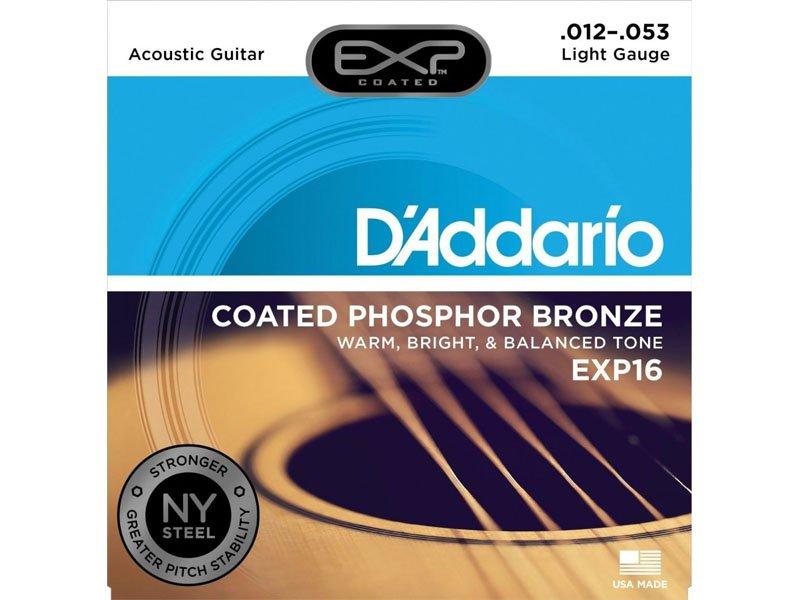 D'Addario EXP16 Coated Phosphor Bronze Acoustic Guitar Strings,  Light Gauge