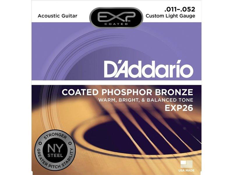 D'Addario EXP26 Coated Phosphor Bronze Acoustic Guitar Strings, Custom Light Gauge