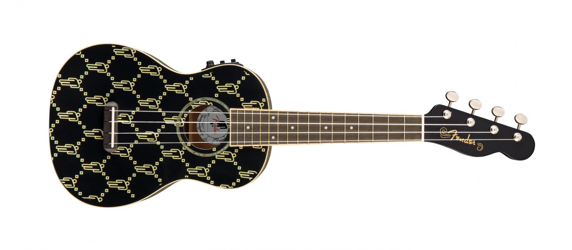 Fender Billie Eilish Signature Concert Ukulele, Black with Blohsh Logo Pattern